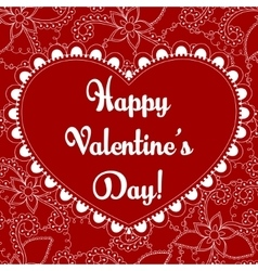 Happy valentine day card on floral pattern vector image