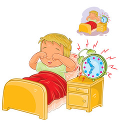 little child woke up in the morning vector image vector image