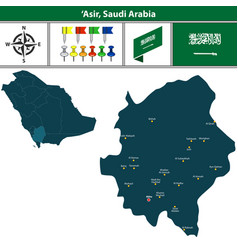 Map of asir saudi arabia vector