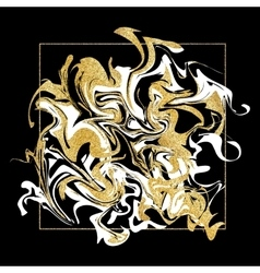 Marbling texture golden glitter marble banner vector