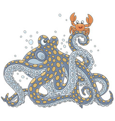 octopus and crab vector image vector image