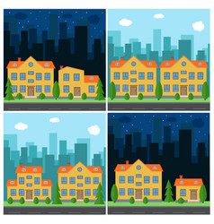 set of day and night city vector image vector image