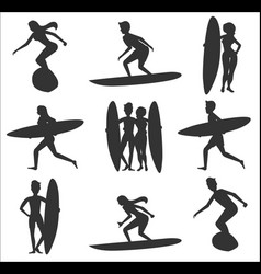 Set of surfers silhouettes vector