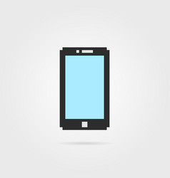 simple pixel art phone with shadow vector image vector image