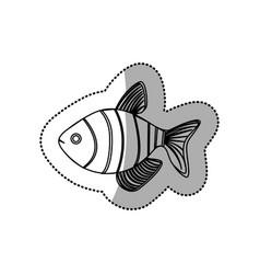 Sticker monochrome contour with fish vector