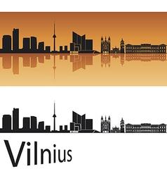 Vilnius skyline in orange background vector image vector image