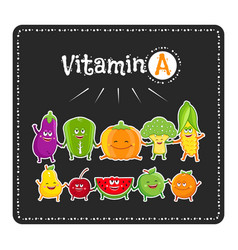 Vitamin a vegetables and fruits healthy food vector