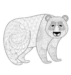 Big panda in zentangle tribal style freehand vector