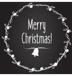 Merry christmas background with hand drawn vector