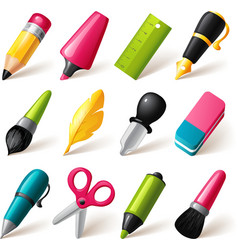 Drawing and writing tools icon set vector