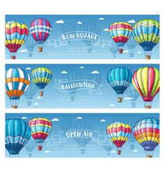Hot air balloon in sky sketch banner set vector