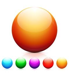 Set of shiny colored spheres with reflection vector image