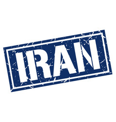 Iran blue square stamp vector