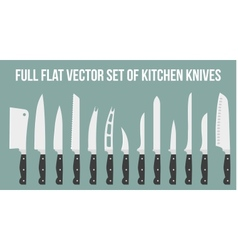 Set flat icons of kitchen knives isolated on white vector