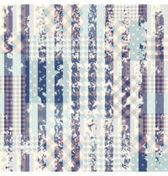 Blue patchwork with grungy strips vector