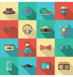 Hipster flat icon set vector