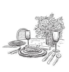 A romantic table for two vector