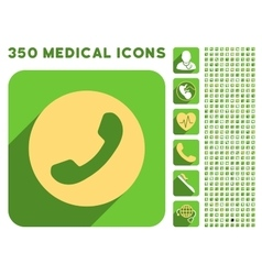 Phone number icon and medical longshadow icon set vector