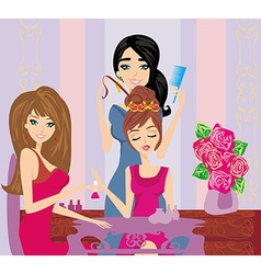 beautiful woman in beauty salon vector image vector image