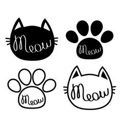 Black cat head meow lettering contour text paw vector