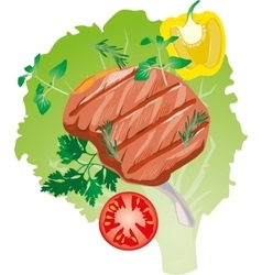 bright juicy grilled meat on the bone on a vector image vector image
