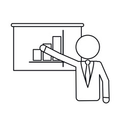 businessman presentation graph statistics outline vector image