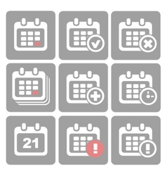 Calendar Icons event add delete progress vector image