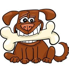 Cartoon Dog with big bone vector image vector image