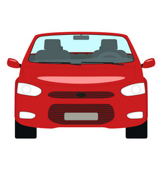 Cartoon red car cabriolet front view vector