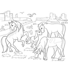 children coloring cartoon horses grazing on meadow vector image