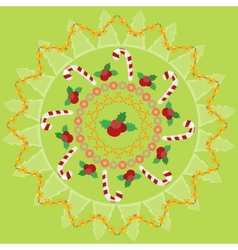 Christmas round pattern vector image