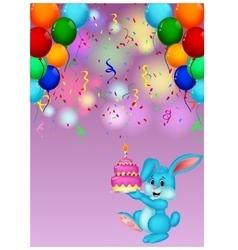 Cute rabbit holding birthday cake vector image vector image