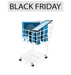Desktop Computer in Black Friday Shopping Cart vector image