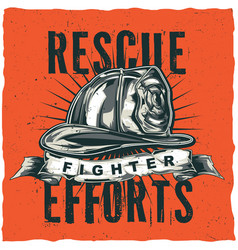 Firefighter t-shirt label design vector
