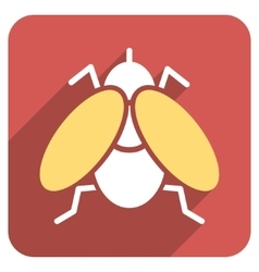Fly flat rounded square icon with long shadow vector