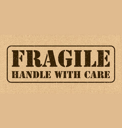 Fragile symbol for cargo cardboard texture high vector