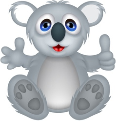 funny koala cartoon with thumb up vector image vector image