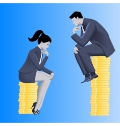 Gender inequality on payment business concept vector