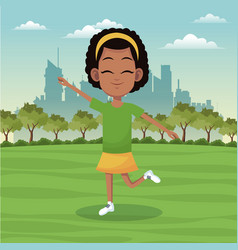 girl sport active park city background vector image