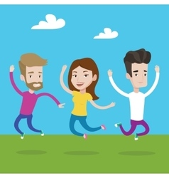 Group of joyful young people jumping vector image vector image