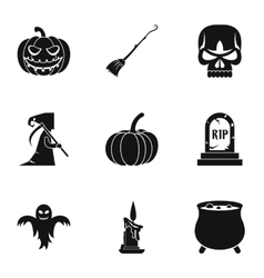 Halloween holiday icons set simple style vector