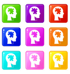 head with puzzle icons 9 set vector image
