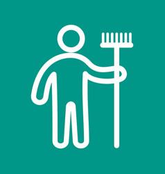 Man holding mop vector
