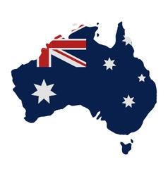 Map of australia with flag vector