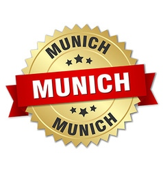Munich round golden badge with red ribbon vector