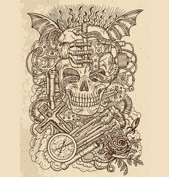 mystic drawing with scary skull in steampunk style vector image