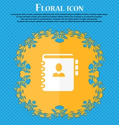 Notebook address phone book icon floral flat vector