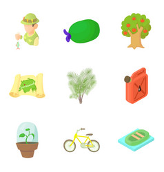 Observing the nature icons set cartoon style vector