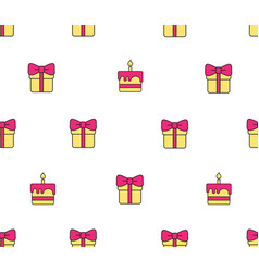 Pattern with gift boxes and birthday cake vector