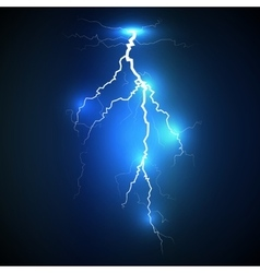 Realistic lightning on blue background vector image